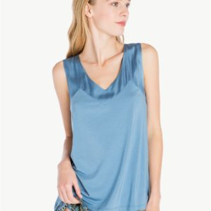 TWINSET LA7MCC Top Sucre Bleu in jersey con pizzo