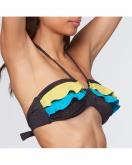PEPITA PC4691 Costume a fascia in lurex con volant colorati