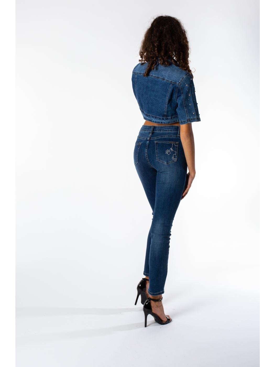 9d83578736 MIMI' MUA' Firenze JRE9-6028 Giubbotto jeans blu con borchie