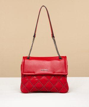borsa a spalla rossa con mini borchie